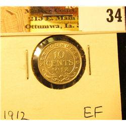 1912 Newfoundland Silver Dime, EF.