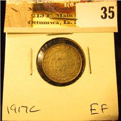 1917C Newfoundland Silver Dime, EF.