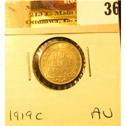 1919C Newfoundland Silver Dime, AU.