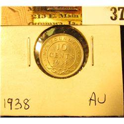 1938 Newfoundland Silver Dime, AU.