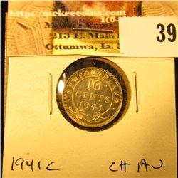 1941C Newfoundland Silver Dime, Choice AU.
