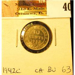 1942C Newfoundland Silver Dime, Choice BU 63.