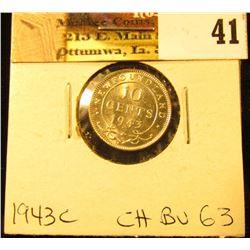 1943C Newfoundland Silver Dime, Choice BU 63.