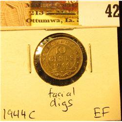 1944C Newfoundland Silver Dime, EF, facial digs.