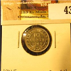 1945C Newfoundland Silver Dime, Choice BU 64.