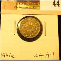 1946C Newfoundland Silver Dime, Choice AU.