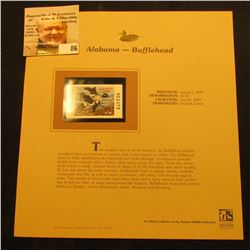 2000 Millenium Alabama $5 State Migratory Waterfowl Stamp, mounted in a plastic page with literature