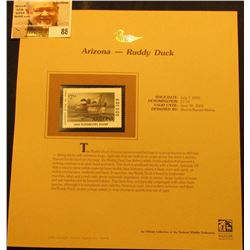 2000 Millenium Arizona $7.50 State Migratory Waterfowl Stamp, mounted in a plastic page with literat