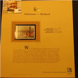 2000 Millenium Arkansas $7.00 State Migratory Waterfowl Stamp, mounted in a plastic page with litera