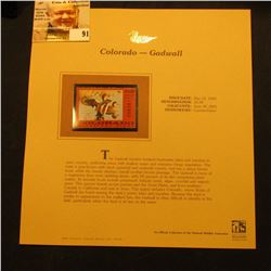 2000 Millenium Colorado $5.00 State Migratory Waterfowl Stamp, mounted in a plastic page with litera