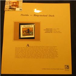 2000 Millenium Florida $3.00 State Migratory Waterfowl Stamp, mounted in a plastic page with literat