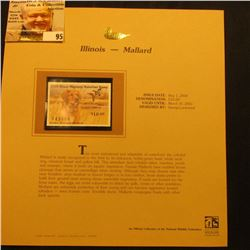 2000 Millenium Illinois $10.00 State Migratory Waterfowl Stamp, mounted in a plastic page with liter