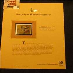 2000 Millenium Kentucky $7.50 State Migratory Waterfowl Stamp, mounted in a plastic page with litera