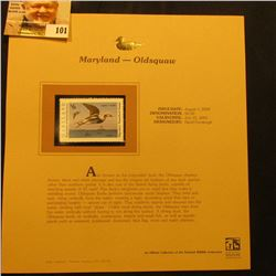 2000 Millenium Maryland $6.00 State Migratory Waterfowl Stamp, mounted in a plastic page with litera