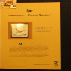 2000 Millenium Massachusetts $5.00 State Migratory Waterfowl Stamp, mounted in a plastic page with l
