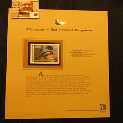 2000 Millenium Minnesota $5.00 State Migratory Waterfowl Stamp, mounted in a plastic page with liter
