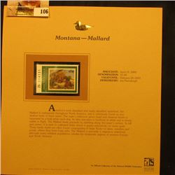 2000 Millenium Montana $5.00 State Migratory Waterfowl Stamp, mounted in a plastic page with literat