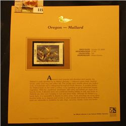 2000 Millenium Oregon $7.50 State Migratory Waterfowl Stamp, mounted in a plastic page with literatu
