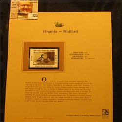 2000 Millenium Virginia $5.00 State Migratory Waterfowl Stamp, mounted in a plastic page with litera