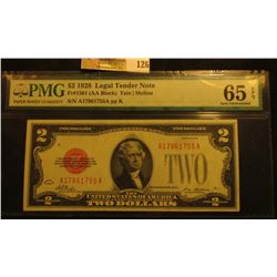 PMG slabbed $2 1928 Legal Tender Note. Fr#1501 (AA Block) Tate/Mellon. S/N A17961755A Graded 65 EPQ