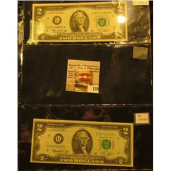 Pair of $2.00 Series 1976 Federal Reserve Notes, Friedberg #1935G & 1935G*, one is a Rare Star repla