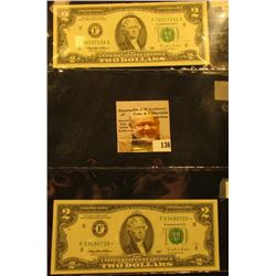 Pair of $2.00 Series 1995 Federal Reserve Notes, Friedberg #1936F & 1936F*, one is a Rare Star repla