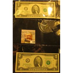 Friedberg 1939A & 1939K* Series 2009 Two Dollar Federal Reserve Notes, nice color on both. The star