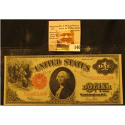 Series 1917 One Dollar Legal Tender Note, S/N T28800188A, Signed Speelman/White. Small Red, Scallope