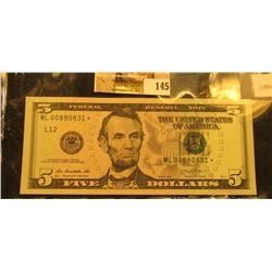 Series 2013 Five Dollar Star Replacement Note, S/N ML00890831*, Friedberg #1508*, Crisp Uncirculated