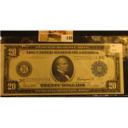 "Series 1914 with Blue Seal Twenty Dollar Federal Reserve Note ""Philadelphia, Pennsylvania"", Friedber"