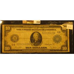"Series 1914 with Blue Seal Ten Dollar Federal Reserve Note ""New York, New York"", Friedberg # 911b, S"