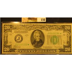"Series 1934C $20 Federal Reserve Star Replacement Note, ""Kansas City, Missouri"", S/N J00400199*, VF."