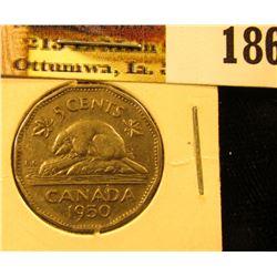 1950 Canada Nickel, EF.