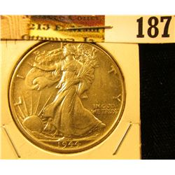 1944 P Walking Liberty Half Dollar, World War II date, Nice high grade.