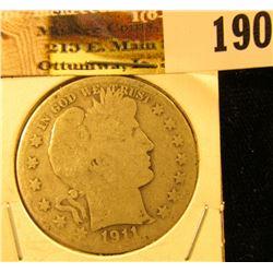 1911 S U.S. Silver Barber Half Dollar.