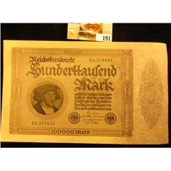 1923 German 100,000 Mark Banknote, Crisp Uncirculated.