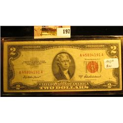 Series 1953A Two Dollar United States Note, S/N A45834191A, Almost Uncirculated.