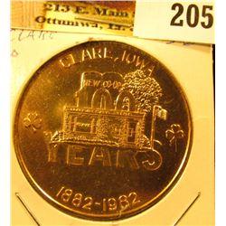 1882-1982 Clare, Iowa Centennial Medal, 39 mm, BU.