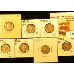 1923 S Good, 24 D AG-G, 25 D Fine, 25 S Fine, 26 P Good, 26 D Good, & 26 S VG Mercury Dimes.