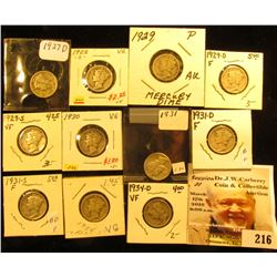1927 D, 28 S, 29 P, D, S, 30 P, 31 P, D, S, 34 P, & D Mercury Dimes, grades up to VF.