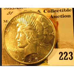 1925 P U.S. Peace Silver Dollar, AU.
