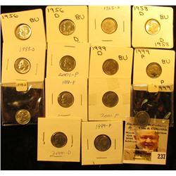 1956P, D, 58D, 60D all BU, 1963D EF Silver & (10) Clad BU Roosevelt Dimes.