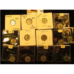(3) 1957 D, 60 P, & D Gem BU Silver & (10) Clad Gem BU Roosevelt Dimes.