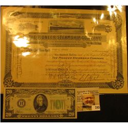 "Aug. 3rd, 1927 Capital Stock Certificate number 2055 for 6 Shares ""The Pioneer Steamship Company Men"