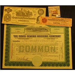 "Oct. 5th, 1922 Stock Certificate for One Share of ""The Davis Sewing Machine Company…State of Delawar"