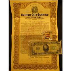 "$500 ""State of Michigan Detroit City Service Company"" July 1st, 1937, notary seal lower left, centra"