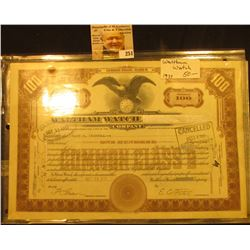 "Oct. 22, 1937 Certificate No. 973 for One Hundred Shares ""Walthan Watch Co."", interesting name chang"