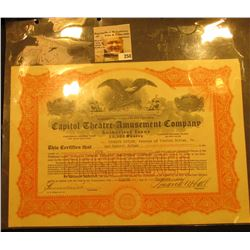 "December 8, 1921 ""Capitol Theatre=Amusement Company…State of New Jersey"", valid for 5 shares of Pref"