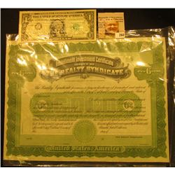 "Unissued Stock Certificate ""Installment Investment Certificate Issued by The Realty Syndicate"", very"