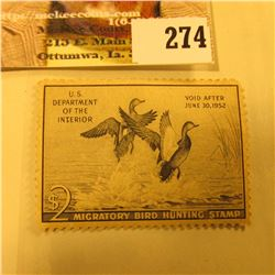 1951 RW18 Federal Migratory Bird Hunting $2 Stamp, unsigned, original gum, LH, VF.